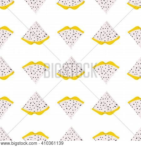 Seamless Pattern With Fresh Cut Slices Yellow Pitaya Fruits Isolated On White Background. Summer Fru