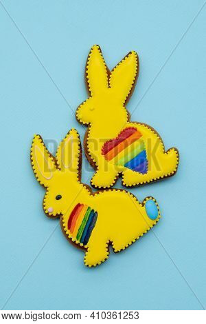 Gay Love. Lgbt Pride. Homosexual Relationship. Freedom Rights. Yellow Gingerbread Bunny Couple Cooki