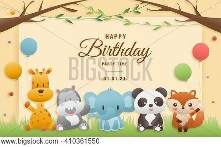 Birthday, Animals Card. Greeting Cards With Cute Safari Or Jungle Animals Giraffe, Elephant, Hippo,
