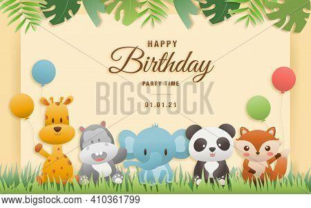 Birthday Animals Card. Greeting Cards With Cute Safari Or Jungle Animals Giraffe, Elephant, Hippo, P