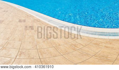 Abstract Pool With Blue Water Background. Top View Of Swimming Pool And Floor Texture. Panorama Of P