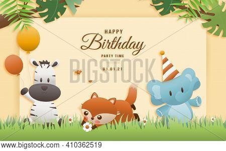 Cartoon Happy Birthday Animals Card. Greeting Cards With Cute Safari Or Jungle Animals Giraffe, Elep