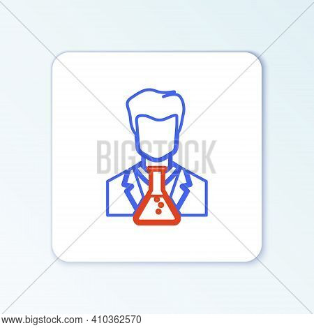 Line Scientist And Test Tube Icon Isolated On White Background. Scientist Chemist Analyzes Laborator
