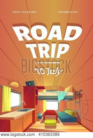 Road Trip Cartoon Ad Poster With Camping Trailer Car Interior, Rv Motor Home Room With Loft Bed, Cou