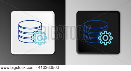 Line Setting Database Server Icon Isolated On Grey Background. Database Center. Colorful Outline Con