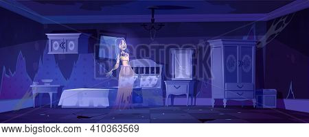 Woman Ghost In Old Bedroom At Night. Vector Cartoon Interior Of Empty Abandoned Home With Broken Fur