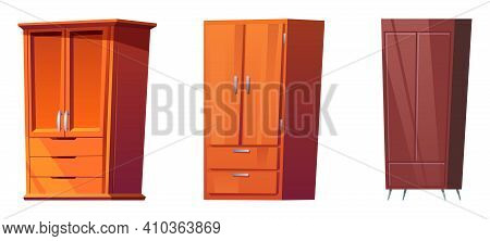 Wooden Wardrobes, Cabinets For Bedroom Interior Isolated On White Background. Vector Cartoon Set Of