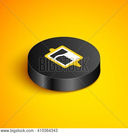 Isometric Line Iv Bag Icon Isolated On Yellow Background. Blood Bag Icon. Donate Blood Concept. The