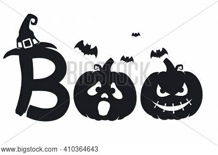 Boo Halloween Silhouette With Pumpkins, Bats And Witch Hat. Clean Vector Paths Isolated On A White B