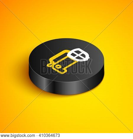 Isometric Line Car Protection Or Insurance Icon Isolated On Yellow Background. Protect Car Guard Shi