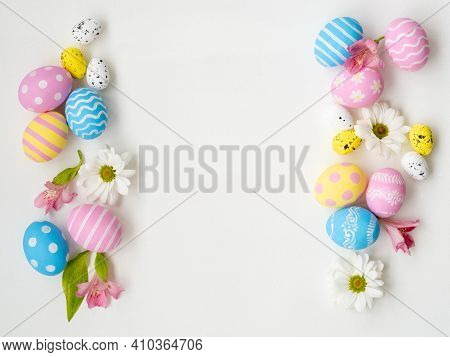 Easter Background. Holiday Frame. Floral Festive Ornament. Greeting Card. Pastel Color Blue Pink Yel