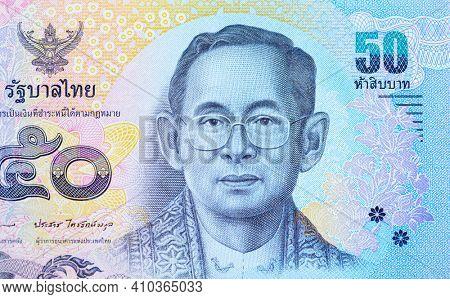 Thailand 50 Bath note closeup
