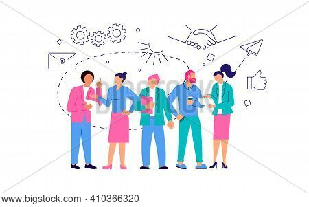 Join Our Team Concept With Group Of Cosmopolite People Working Together. Office Teamwork Or Coworkin