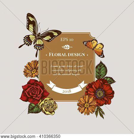 Badge Design With Colored Poppy Flower, Calendula, Plain Tiger, Papilio Torquatus, Roses Stock Illus