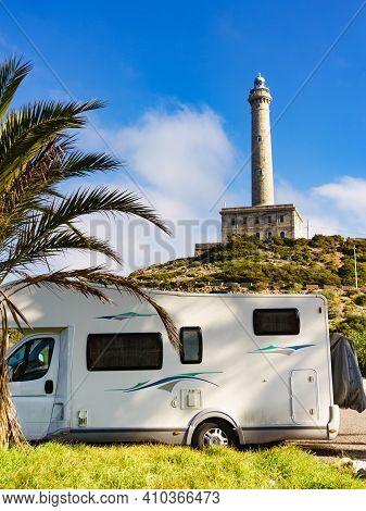 Rv Caravan At Cape Palos Lighthouse, Cartagena, Murcia Region, Spain. Tourist Atraction, Place To Vi
