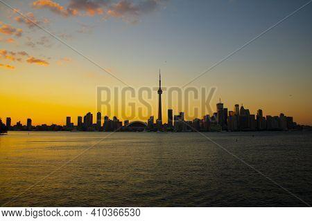 Toronto City Skyline, Ontario, Canada During Sunset.