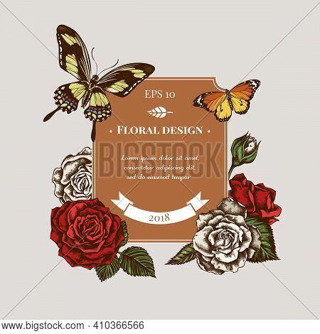Badge Design With Colored Plain Tiger, Papilio Torquatus, Roses Stock Illustration