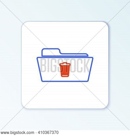 Line Delete Folder Icon Isolated On White Background. Folder With Recycle Bin. Delete Or Error Folde