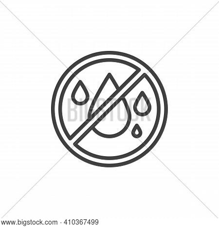 No Water Line Icon. Linear Style Sign For Mobile Concept And Web Design. No Liquids Outline Vector I