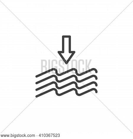 Water Precipitation Line Icon. Linear Style Sign For Mobile Concept And Web Design. Water Waves And