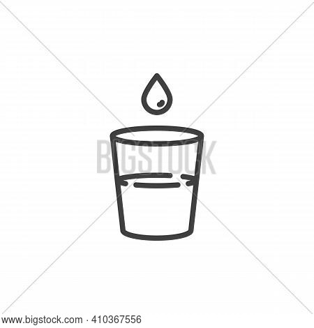 Glass Of Water And Water Drop Line Icon. Linear Style Sign For Mobile Concept And Web Design. Drinki