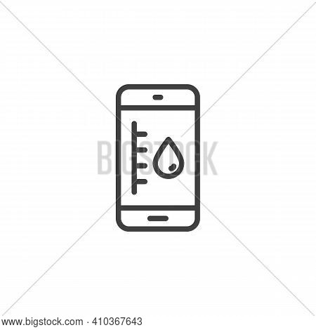 Mobile Humidity Level Line Icon. Linear Style Sign For Mobile Concept And Web Design. Smartphone Hum