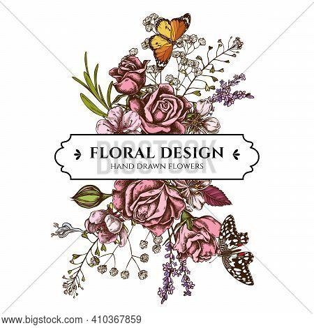 Floral Bouquet Design With Colored Shepherd S Purse, Heather, Iris Japonica, Sakura, Gypsophila, Alm