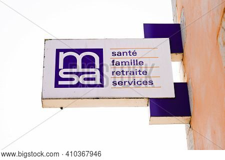 Bordeaux , Aquitaine France - 02 25 2021 : Msa Logo Brand And Text Sign On Entrance Insurance Office