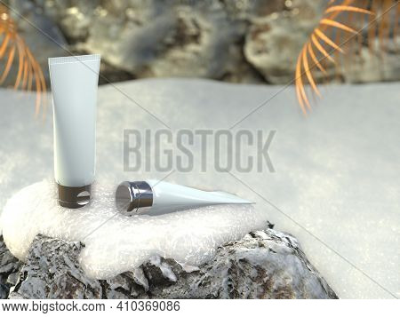 Cosmetic Tubes Containers Stand On Stone Covered With Snow. Beauty Product Organic Branding Mock-up