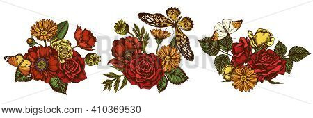 Flower Bouquet Of Colored Poppy Flower, Calendula, African Giant Swallowtail, Great Orange-tip, Plai