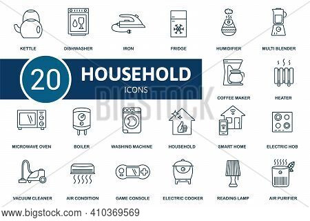 Household Icon Set. Contains Editable Icons Household Theme Such As Fridge, Air Condition, Vacuum Cl