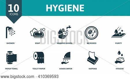Hygiene Icon Set. Contains Editable Icons Hygiene Theme Such As Soap, Microbes, Paper Towel And More