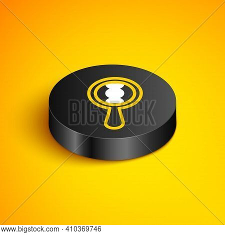 Isometric Line Dna Research, Search Icon Isolated On Yellow Background. Magnifying Glass And Dna Cha