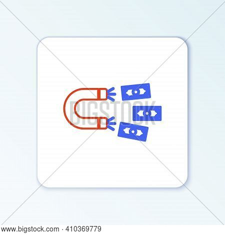 Line Magnet With Money Icon Isolated On White Background. Concept Of Attracting Investments, Money.