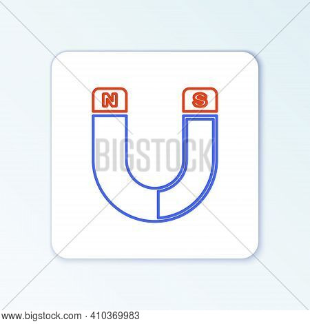 Line Magnet Icon Isolated On White Background. Horseshoe Magnet, Magnetism, Magnetize, Attraction Si