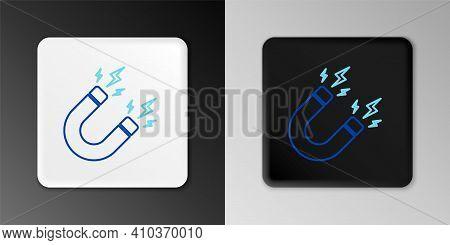 Line Magnet With Lightning Icon Isolated On Grey Background. Horseshoe Magnet, Magnetism, Magnetize,