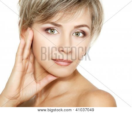 attractive mid adult woman, female face of beautiful caucasian middle 40 years old over white
