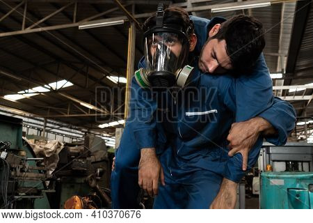 Skillful Factory Worker Rescue His Teammate Out Of Poisonous Gas Leakage . Industry And Engineering