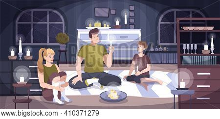 Power Outage Home Composition A Family Of Three Sits In An Apartment With Candles Because There Is N