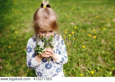 Little Girl Sniffing Spring Flowers On Green Lawn In The Garden. High Quality Photo