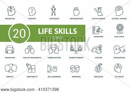 Life Skills Icon Set. Contains Editable Icons Life Skills Theme Such As Curiosity, Open Mindedness,