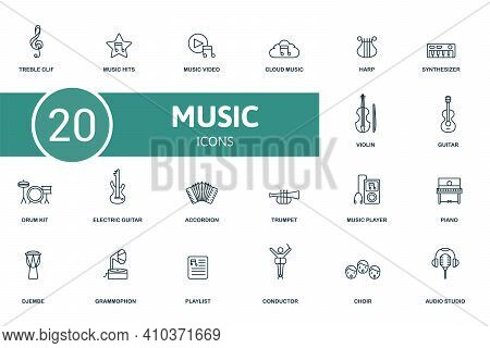 Music Icon Set. Contains Editable Icons Music Theme Such As Music Hits, Cloud Music, Synthesizer And