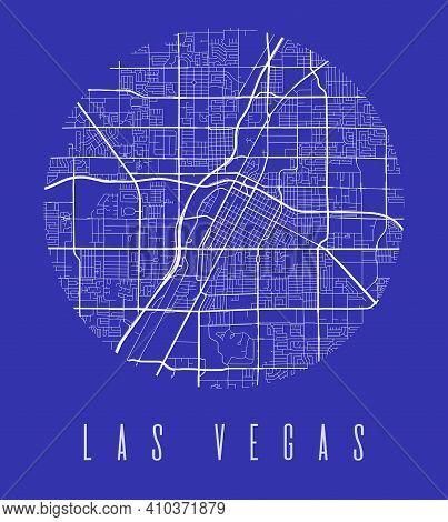 Las Vegas Map Poster. Decorative Design Street Map Of Las Vegas City. Cityscape Aria Panorama Silhou