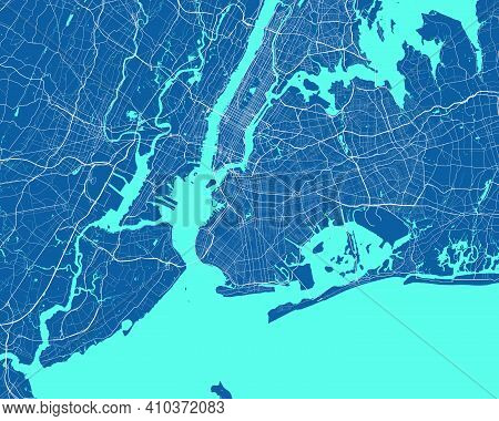 Detailed Map Of New York City Administrative Area. Royalty Free Vector Illustration. Cityscape Panor