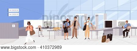 Airport Guards Checking And Controlling People And Baggage With Security X-ray Scanners. Border Offi