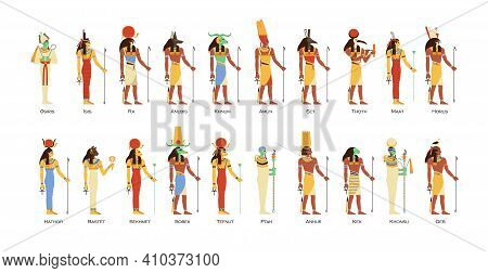 Set Of Egyptian Gods And Goddesses. Deities Of Ancient Egypt. Myth Cairo Figures And Statues. Colore