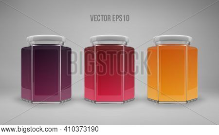 A Set Of Hexagon Glass Jars With Lids. A Transparent Jar With A White Lid And Labels. Realistic 3d I