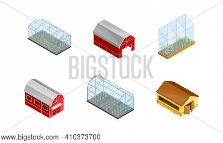 Barn House And Green House With Crops Growing As Agricultural And Farming Industry Vector Isometric
