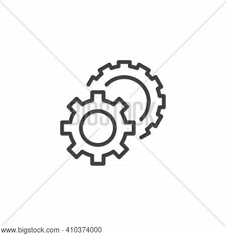Preferences Gear Line Icon. Cogwheels Linear Style Sign For Mobile Concept And Web Design. Settings