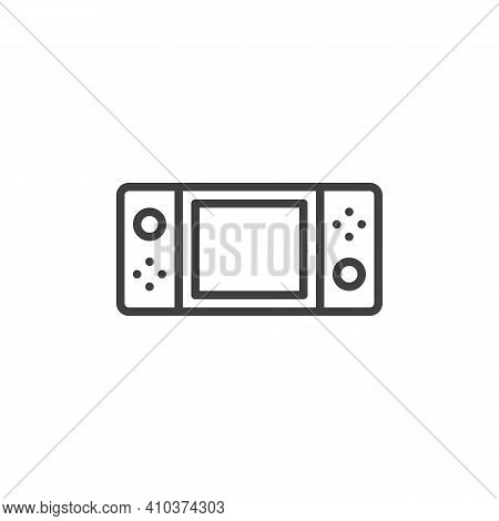 Handheld Video Game Console Line Icon. Linear Style Sign For Mobile Concept And Web Design. Handheld